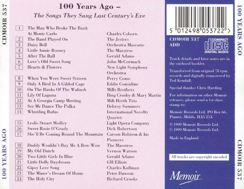 100 Years Ago: The Songs They Sang Last Century's Eve