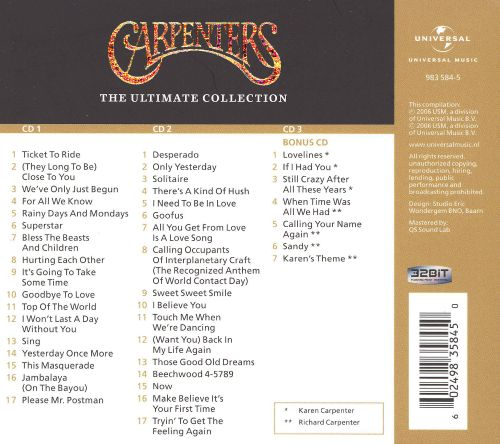 Carpenters Ultimate Collection: The Ultimate Collection [3 CD] - Carpenters