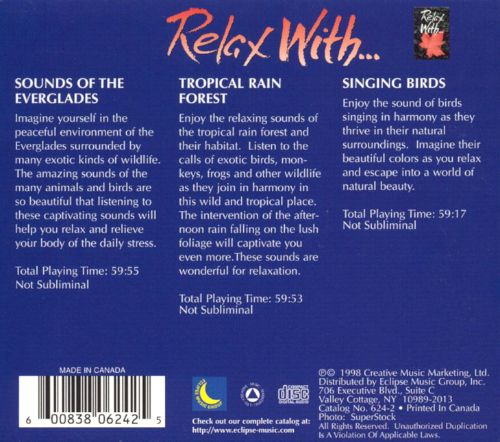 Relax With Sounds Of Everglades/Rain Forest/Singing Birds