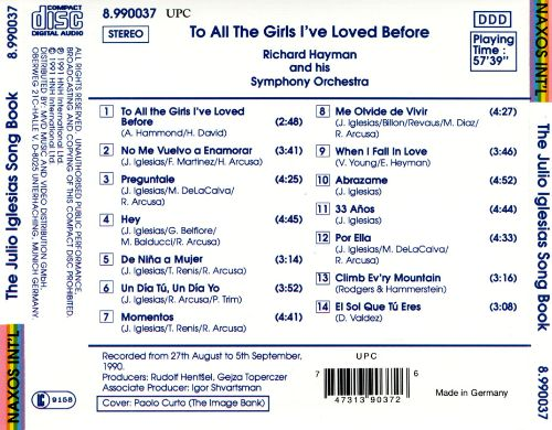 To All the Girls I've Loved Before (The Julio Iglesias Song Book)