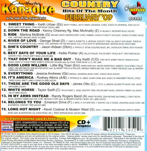 Karaoke: Country Hits of the Month: February 2009