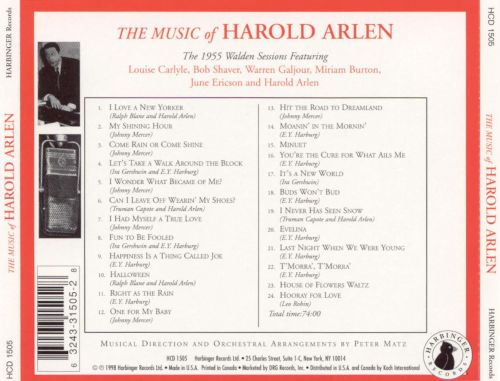 The Music of Harold Arlen: The 1955 Walden Sessions
