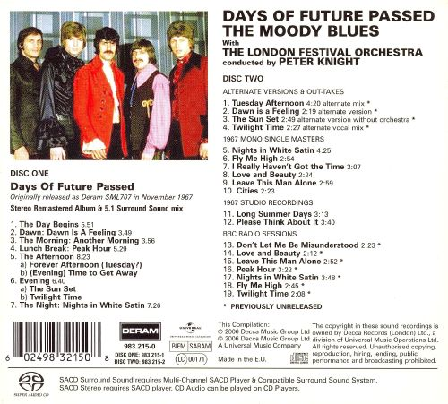days of future passed deluxe edition sacd cd bonus tracks the moody blues release info. Black Bedroom Furniture Sets. Home Design Ideas