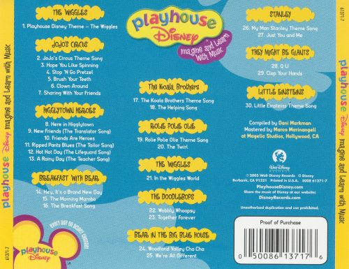 Playhouse Disney Imagine And Learn With Music Disney