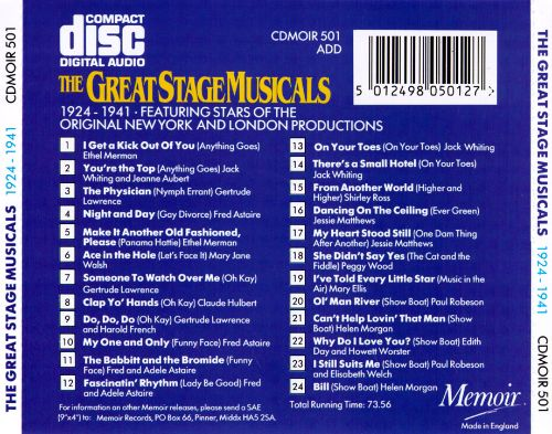 The Great Stage Musicals 1924-1941