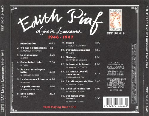 Live in Lausanne: 1946-1947