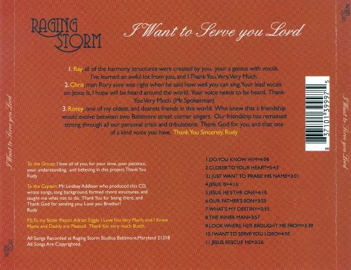 I Want To Serve You Lord Raging Storm Songs Reviews Credits