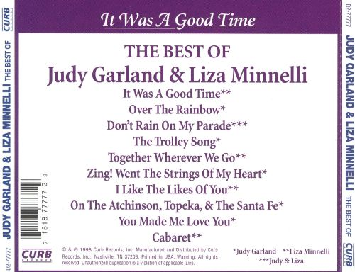It Was a Good Time: The Best of Judy Garland & Liza Minnelli