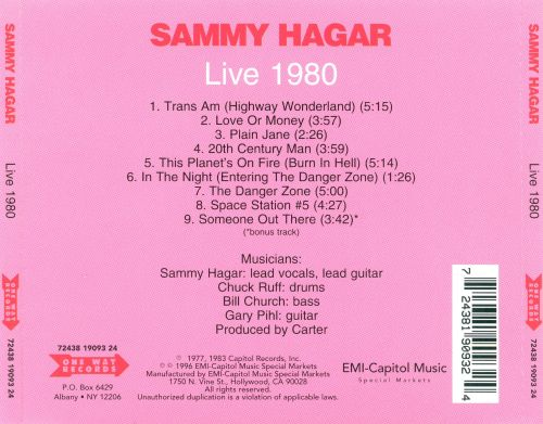 live 1980 sammy hagar songs reviews credits allmusic. Black Bedroom Furniture Sets. Home Design Ideas