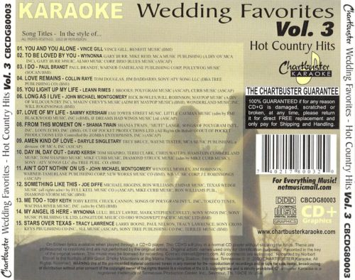 Chartbuster Karaoke: Wedding Favorites - Hot Country Hits, Vol. 3
