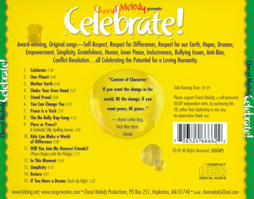 Celebrate Peace Begins with Me!  Ages 5 Thru Adults! Featuring the No Bully Rap; 1 Plan