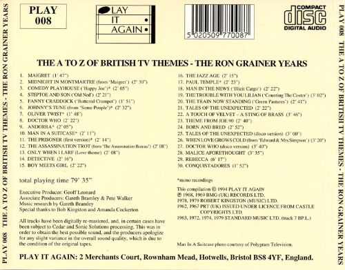 The A to Z of British TV Themes -- The Ron Grainer Years
