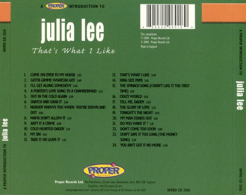 A Proper Introduction to Julia Lee: That's What I Like
