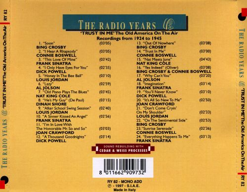 The Radio Years: 'Trust In Me' The Old America On The Air