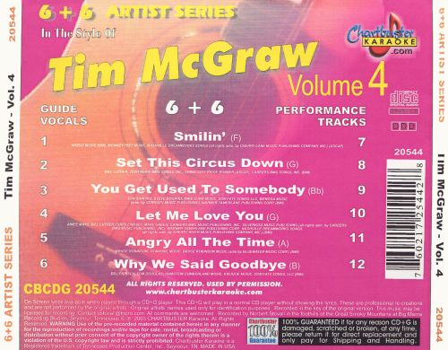 Chartbuster Karaoke: Tim McGraw, Vol. 4