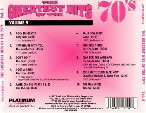 Greatest Hits of the 70's, Vol. 5