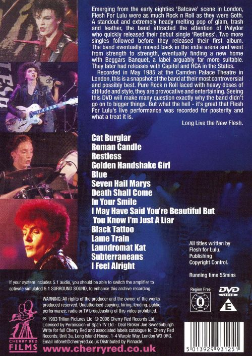Roman Candle: Flesh for Lulu Live [DVD]
