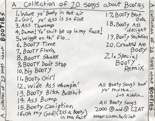 A Collection of 20 Songs About Booties