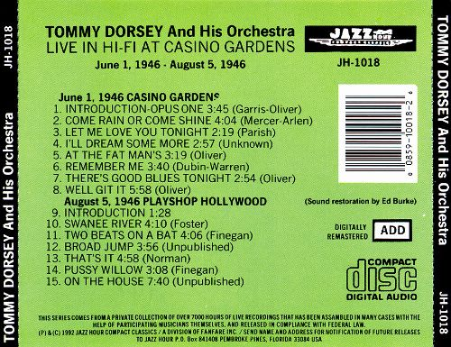 Live in Hi-Fi at Casino Gardens - Tommy Dorsey & His Orchestra ...