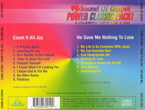 Count It All Joy/He Gave Me Nothing