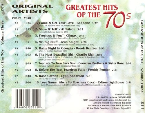 Greatest Hits of the 70's, Vol. 3 [2001]