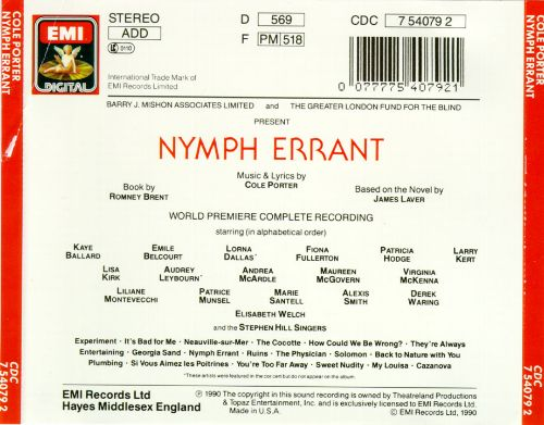 Nymph Errant [1989 London Concert Cast]