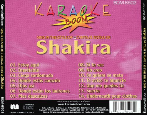 Karaokeboom: Sing in the Style of: Canta Al Estilo de Shakira