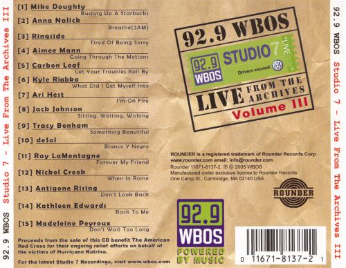 92.9 WBOS: Live from the Archives, Vol. 3