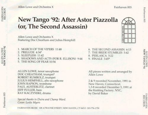 New Tango '92: After Astor Piazzolla (Or the Second Assassin)