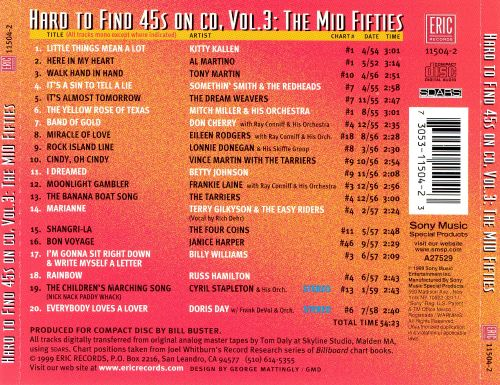 Hard to Find 45's on CD, Vol. 3: The Mid 50's