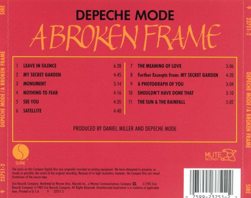 Image result for DEPECHE MODE A BROKEN FRAME