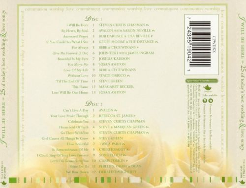I Will Be Here 25 Of Todays Best Wedding Love Songs