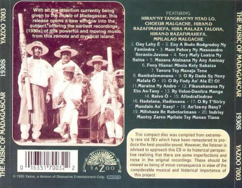 Music of Madagascar: Classic Traditional Recordings of the 1930s