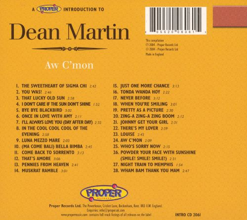 A Proper Introduction to Dean Martin: Aw C'mon