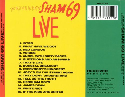 Best of & the Rest of Sham 69 Live