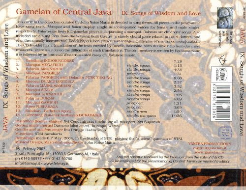 Gamelan of Central Java, Vol. 9: Songs of Wisdom and Love