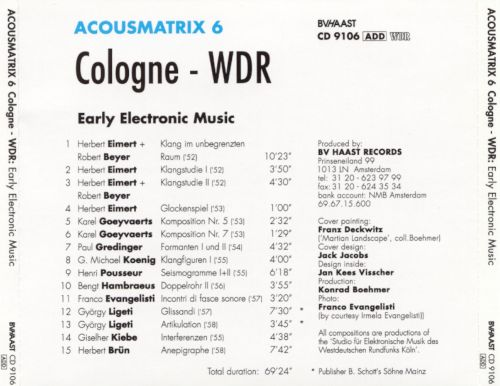 Acousmatrix 6: Cologne-WDR: Early Electronic Music