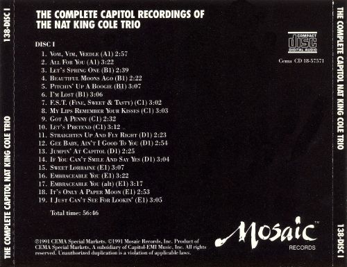 The Complete Capitol Recordings of the Nat King Cole Trio  [Mosaic Box]