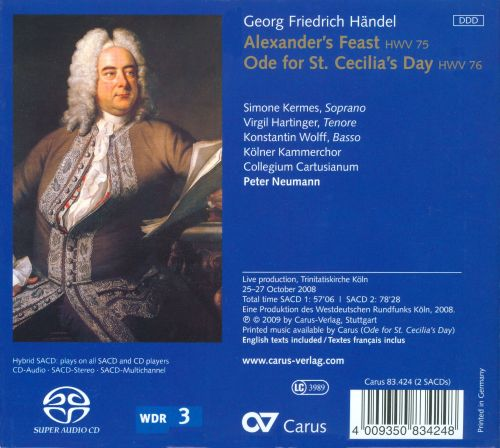 Geoge Frideric Handel: Alexander's Feast; Ode for St. Cecilia's Day