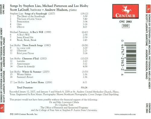 Songs by Stephen Lias, Michael Patterson and Lee Hoiby