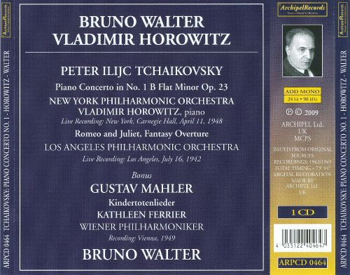 Tchaikovsky: Piano Concerto No. 1; Romeo and Juliet; Mahler: Kindertotenlieder