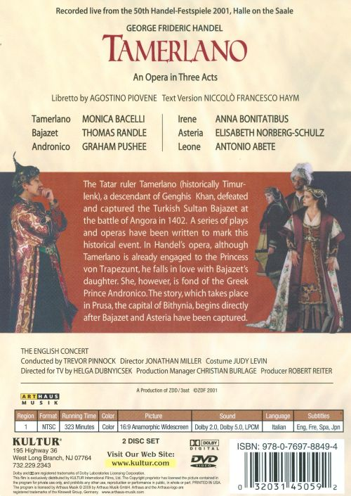 Handel: Tamerlano [DVD Video]