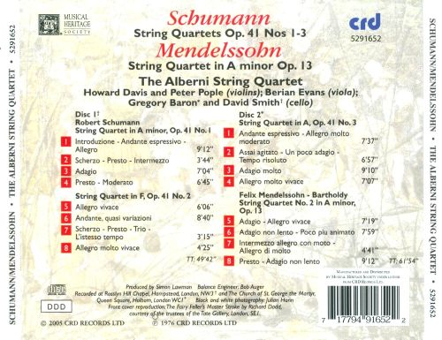 Schumann: String Quartets, Op. 41 Nos. 1-3; Mendelssohn: String Quartet in A minor, Op. 13
