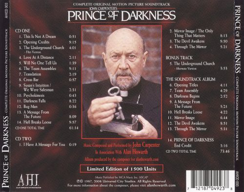 Prince of Darkness [Complete Original Motion Picture Soundtrack]