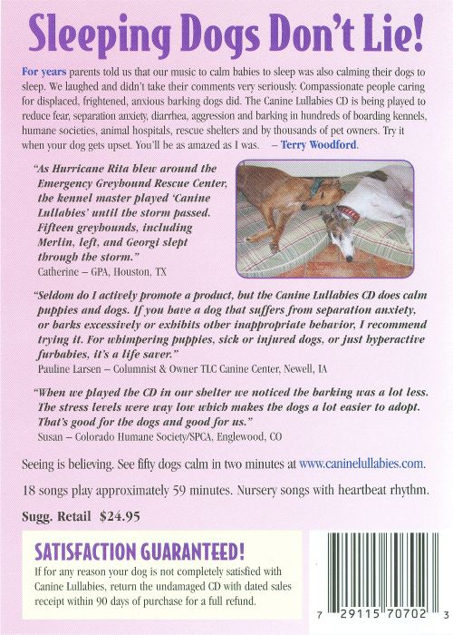 Canine Lullabies Heartbeat Music Therapy CD Vol. 1 & 2