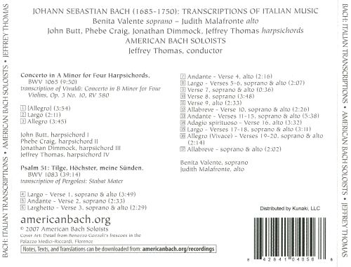 Bach: Transcriptions of Italian Music