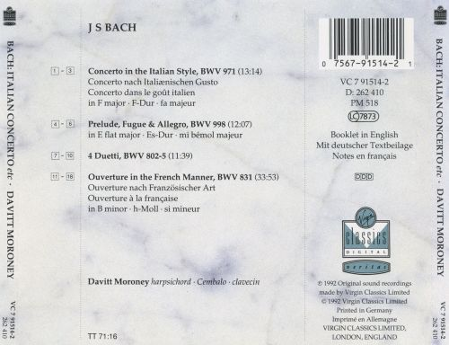 Bach: Italian Concerto; Overture in the French Style