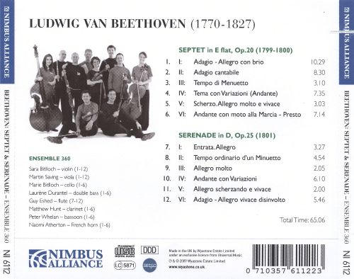 Beethoven: Septet in E flat, Op. 20; Serenade in D, Op. 25