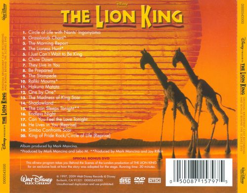 the lion king  original cast recording   bonus dvd