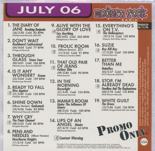 Promo Only: Modern Rock (July 2006)